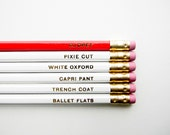 Audrey Hepburn Pencils- The 'Girls with Gumption' Collection, White, Red & Gold, Set of 6, Stocking Stuffers