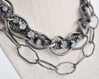 Gunmetal Chain Necklace with  Light Blue Stones