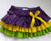 Beautiful Parley Ray Mardi Gras All around Ruffle Skirt with Diaper Cover / Baby Bloomers/ Photo Prop