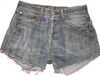 Vintage Levi Denim Shorts - Distressed - Frayed- Dark Denim - Medium