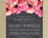 Chalkboard Floral Bridal Shower Invitation Rustic Anemones Classic Elegant Wedding Invite FREE PRIORITY SHIPPING or DiY Printable - Leona
