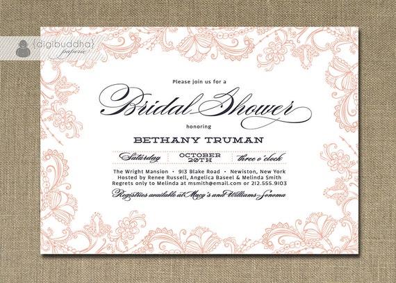 Lace bridal shower invitation pink navy blue deep blue for Classic bridal shower invitations