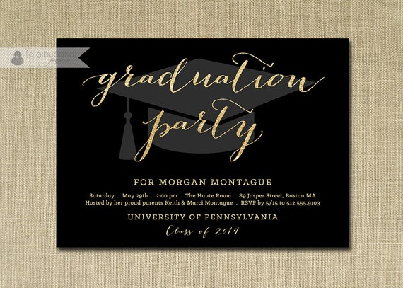 gold glitter graduation party invitation gold by