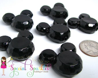 6 Chunky Beads, Black Mickey Mouse, Bubblegum Beads BLACK Faceted Acrylic Craft Beads, 34mm x 37mm