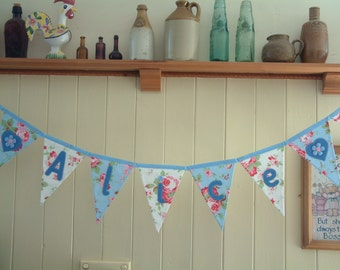 Cath Kidston personalised bunting, name banner. Baby girl. Applique hearts. Pink blue cream. Per flag.