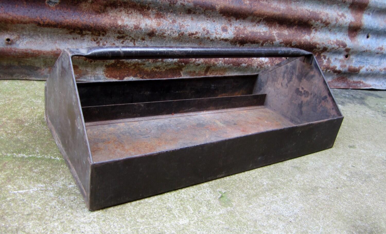 Vintage metal tool box insert metal industrial tool caddy cute - Div checker tool ...