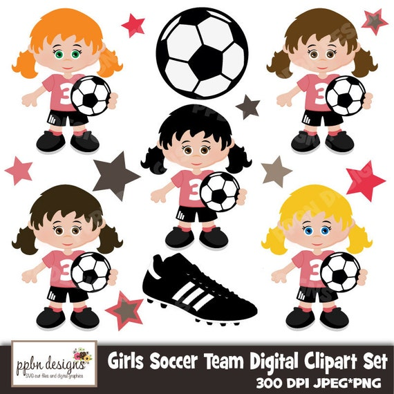 items similar to girls soccer team digital clipart and