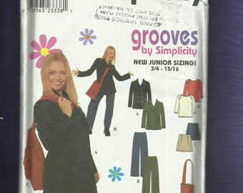 Simplicity 8869 Groovy Wardrobe British Invasion Inspired Jacket Pants Skirt & Tee Size 3/4 to 9/10 UNCUT