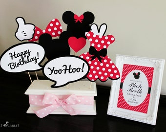 MINNIE Mouse Photo Booth Props in Red - Print your own - Digital File - Immediate Download