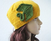 knit pumpkin halloween hat, teen girls womens hat, orange yellow, green pumpkin leaf, halloween fashion - delectare