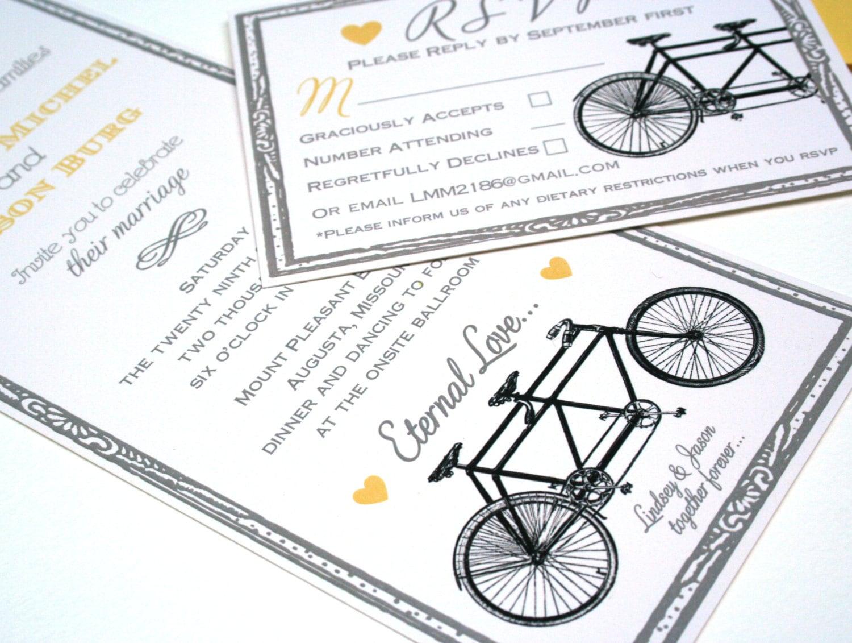 Tandem Bike Wedding Invitations: Vintage Tandem Bicycle Wedding Invitation Suite: Antique Bike