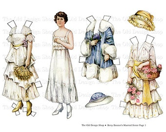Betty Bonnet's Married Sister Vintage Paper Doll Printable Digital Collage Sheet