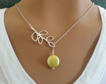 Yellow Freshwater Coin Pearl Lariat Necklace