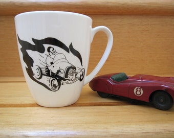 Hand painted mug Racing Theme