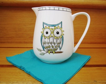 3 Wise Owls - hand painted Pitcher/Jug in yellow and aqua