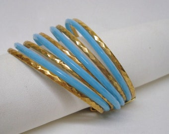 Fascinating Vintage Bracelet Blue Enamel and Gold Tone Metal Set of  9 Bracelets Held Together