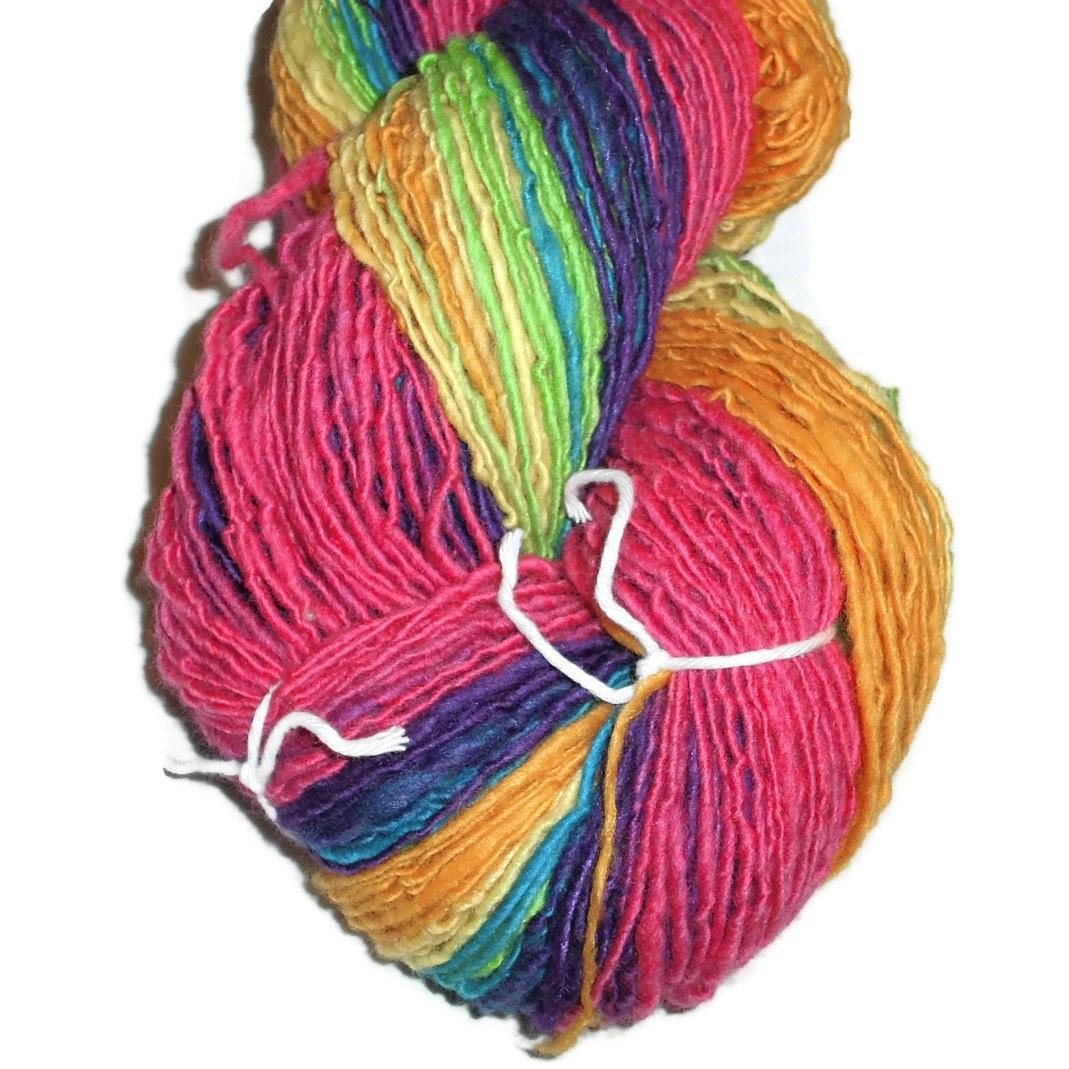 Bamboo Yarn : Rainbow Yarn Merino Yarn Bamboo Yarn Silk by SussesSpindehjrne