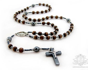 Mens Rosary necklace, wood rosaries, boys rosary, wooden rosaries, confirmation rosary, catholic gift, rosaries for men, communion rosary
