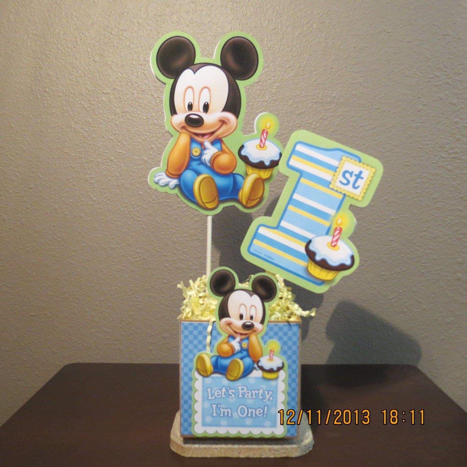 Baby mickey 39 s 1st birthday centerpiece diy kit for Baby mickey decoration ideas
