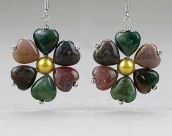 Agate stone flower Earrings Bridesmaid gifts Free US Shipping handmade Anni designs