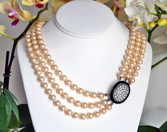 Donald Stannard vintage signed long 3 strand faux pearls