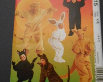 McCalls MP315, cat, bunny, bear,,\lion, kangaroo costumes, size 3