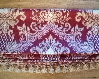 Relaxed Roman Shade Window Treatment   Custom Made in Red Abstract Fabric   Gold Tassel Trim