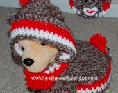 Instant Download Crochet Pattern- Sock Monkey Dog Hoodie - Small Dog Hoody