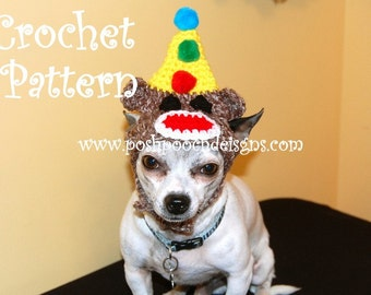 Instant Download - Crochet Pattern - Birthday Sock Monkey Dog Hat Small Dog beanie 2-20 lbs