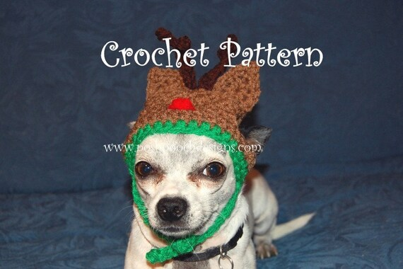 Instant Download Crochet Pattern - Reindeer Dog Hat -Small Dog Hat 2-20 lbs