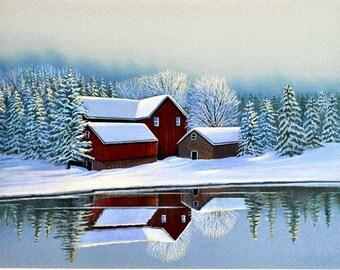 Red Barn Painting, Snow Scene, Landscape, Watercolor Print, 11 x 14, Home Decor, by artist Doug Walpus