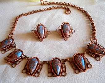 Necklace and Earring Set Copper Faux Turquoise Venetian Glass Vintage