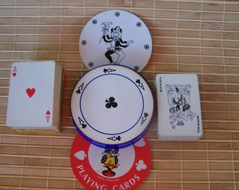 "Vintage ""40's ARRCO CO &  60's ABC"" Novelty Playing Cards  2 Decks of Tom Thumb - 1 Round Deck"