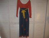 1960s 1970s HIPPIE Dress,  FLOWER Child DRESS,  Hippie Gown Halloween