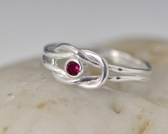 Infinity Knot Birthstone Ring - Red Ring - July Birthstone Ring - Infinity Knot Jewelry - Birthstone Ring - Ruby Red Gemstone