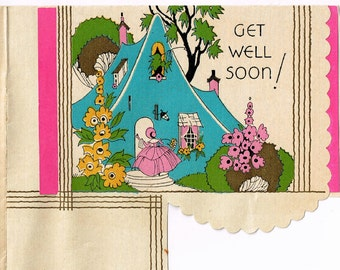 GET WELL SOON .... circa 1920s Antique Wishing You Well Card and Poem