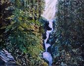watercolor ORIGINAL Cedar Creek -- forest waterfall woods watercolour trees stream sunlight gift