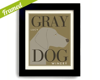 Weimaraner Wine Gift Gray Dog Personalized Framed Bar Art