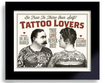 Tattoo Art for Couple Illustrated Ink Sideshow Art Circus Poster Vintage Carnival Tattoo Parlor Man Woman