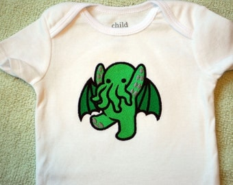 Cute Cthulhu embroidered baby bodysuit