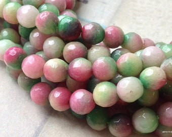 1 Strand of 6 mm Round Red Apple Faceted Flower Jade Gem Stones (.mua)(gz)