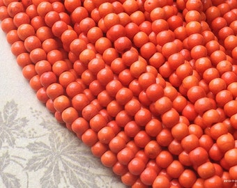 4 mm Orange Turquoise Gem Stone Beads(gz sdu - .mthc)