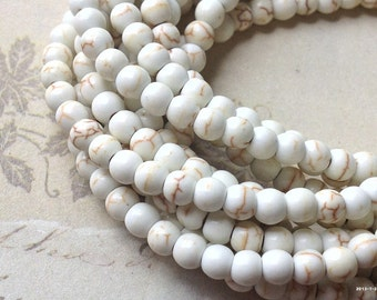 "1 Full Strand (15"") (over 85 pieces) of 4 mm Beige Turquoise Gem Stone Beads( gz sdu - t.g)"