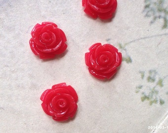 10 mm Red Color Garden Rose Resin Flower Cabochons (.tu)
