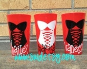 Personalized Cups, Bachelorette Weekend, Bridesmaids, Lingerie, Gifts,Set of 6