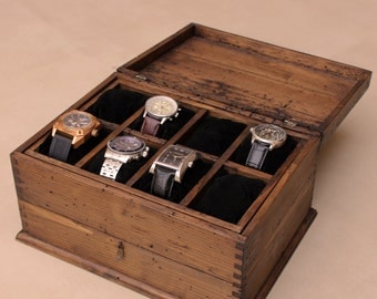 Personalized Rustic Men's Watch Box for 8 watches and drawer
