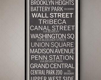 New York City Vintage Fine Art Subway Sign, Bus Blind, Roll Sign, Vintage Subway Sign, Vintage Art, Retro Decor, Train Banner, Trolley Sign