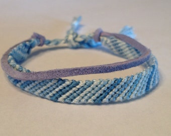 Light Blue Ombré Stripes Friendship Bracelet - with Pale Blue Suede
