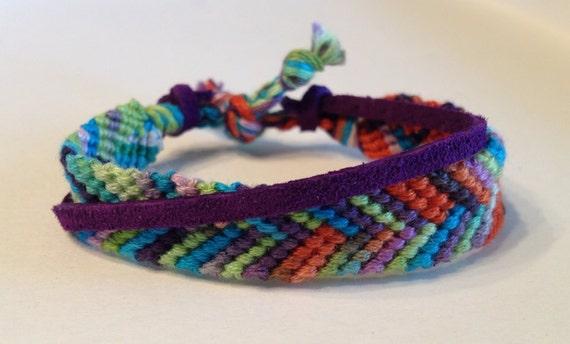 Multi-Colored Brights Chevron Ombre - with Purple Suede - Friendship Bracelet