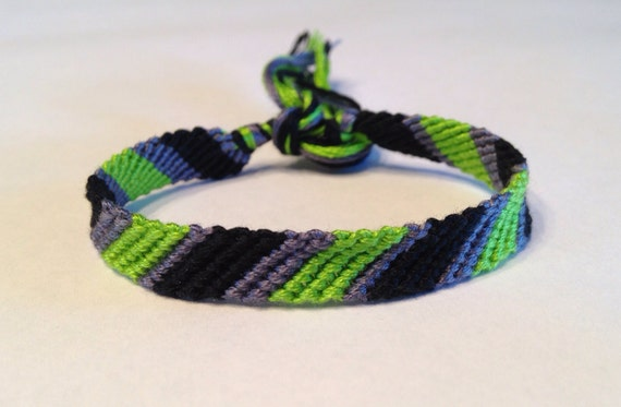 CLEARANCE - Lime, Black & Grey Stripes - Friendship Bracelet